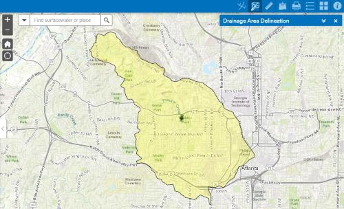 Delineated watershed near Atlanta